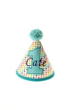 CUSTOM Rainbow Heart Fabric Birthday Hat by LittleFreeRadical