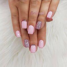 Nail Shapes - My Cool Nail Designs Cute Nails, Pretty Nails, My Nails, Glitter Nails, Nail Designs Spring, Nail Art Designs, Nails Design, Dipped Nails, Manicure E Pedicure