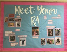 """My """"Meet Your RA"""" bulletin board. Includes basic facts, people who are important to me, cool facts, and my favorite things! My """"Meet Your RA"""" bulletin board. Includes basic facts, p College Bulletin Boards, Interactive Bulletin Boards, Ra College, College Students, Ra Themes, Harry Potter Party Decorations, Ra Bulletins, Ra Boards, Human Body Unit"""