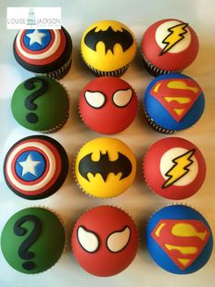 Superhero cupcakes - Cake by Louise Jackson Cake Design