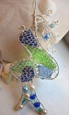 Mermaid beach sea glass pendant