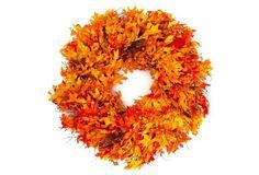 """One Kings Lane 32"""" Autumn Oak Wreath, Dried"""