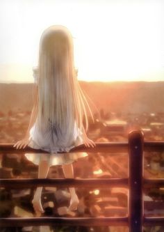 "Tags:     ""barefoot"" ""dress"" ""grey hair"" ""long hair"" ""ribbon"" ""sky"" ""sunset""  Source:     ""Ano Hi Mita Hana no Namae o Boku-tachi wa Mada Shiranai.""  Characters:     ""Honma Meiko""  Artist:     ""Goto-P"""
