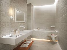 Bathroom, Bathroom White Wall Faucets Wall Mirror White Laminate Wall Single Vanity Floor Lamp Grey Patterned Wall Wooden Small Ottoman And Mosaic Tile Bathtub Surround ~ Various Bathroom Interior Design: a Place to Indulge Yourself Under