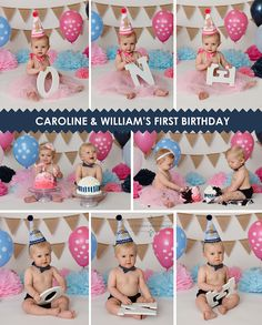 Cake smash, twins, first birthday, cake, balloons, smash cake, photographer, professional, boy, girl, one year old, blue, pink, navy, white, 11 sixteen photography, glen Allen, Richmond, chesterfield, Virginia