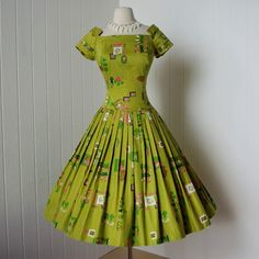 vintage 1950s dress ...fabulous designer ALEX COLMAN full skirt pin-up cotton dress made with collectible norman brenner of associated artists novelty print 1954