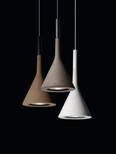 The Foscarini Aplomb Mini Concrete Pendant was born from the desire to use rough concrete, typical of large modern buildings, to create a light object in slender, refined forms, the Aplomb lamp has been hugely successful ever since its inception. Interior Lighting, Home Lighting, Lighting Design, Pendant Lighting, Pendant Lamps, Modern Lighting, Industrial Lighting, Deco Luminaire, Luminaire Design
