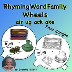 Rhyming Word Family Wheels FREE Sample for home and school learning