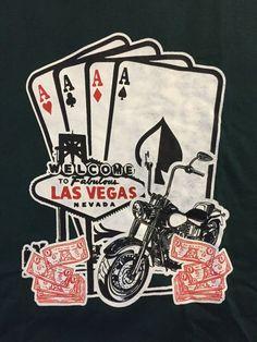 4baa750c91d82 Las Vegas Nevada NV Green Mens TShirt Aces Motorcycle Casino Poker Money  NEW  LasVegas  GraphicTee