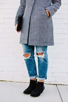 Love the check pattern on this #MaisonScotch jacket. The @solesociety boots aren't bad either.