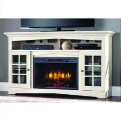 Superb fireplace tv stand black for your cozy home Grey Fireplace Tv Stand, Fireplace Console, Fireplace Inserts, White Fireplace, Fireplace Hearth, Fireplace Ideas, Large Tv Stands, White Tv Stands, Large Electric Fireplace