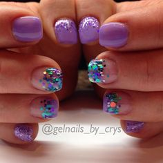 "@gelnails_by_crys - Light Elegance ""sour grapes"" and ""tart at hart"" and @glitter_heaven_australia ""Atlantic Mermaid  - Gel Nails"