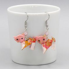 Japanese Paper, Washi, Chat Rose, Origami Cat, Creations, Instagram, Etsy, Earrings, Handmade