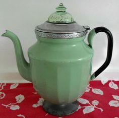 Jadite coffee pot - not sure if this is where coffee is made or just served from. Percolator top may just be an adornment.