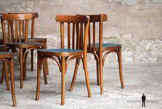GENTLEMEN DESIGNERS // Lot de 8 chaises bistrot baumann en bois, assise bleu pétrole, relookée