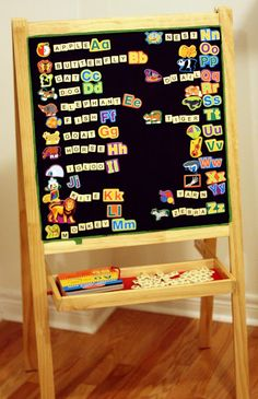 Making Ikea easel magnetic... lots of good ideas in the comments, too. (Making bananagrams magnetic with tape, etc.)