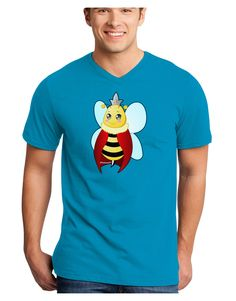 TooLoud Queen Bee Mothers Day Adult Dark V-Neck T-Shirt
