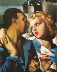 Idyll by Tamara de Lempicka (Polish), oil on canvas, genre: Art Deco Art Deco Artists, Art Deco Paintings, Cubist Paintings, Cat Paintings, Estilo Art Deco, Art Deco Stil, Art Deco Era, Pinturas Art Deco, Tamara Lempicka