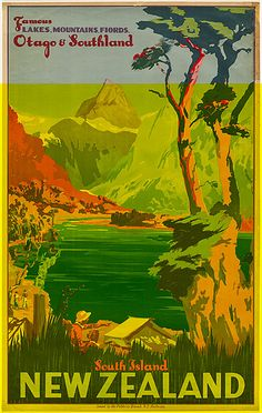 Visit the South Island, New Zealand - 1920-1940 vintage travel poster