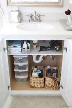 good idea to add a shelf (that has cut out for pipes) for storage under a bathroom sink: