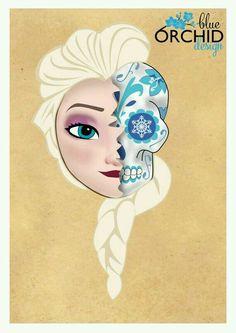 Disney Princess Elsa Sugar Skull by BlueOrchidDesignsNZ Punk Disney, Disney Day, Disney Love, Disney Magic, Disney Frozen, Sugar Skull Art, Sugar Skulls, Alternative Disney, Twisted Disney