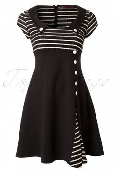 Vixen - 60s Oh So Striped A line dress in Black and White