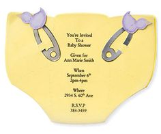 Diaper-shape invite  http://www.scrapbooksetc.com/crafts/cards/baby-cards-and-announcements/?page=16