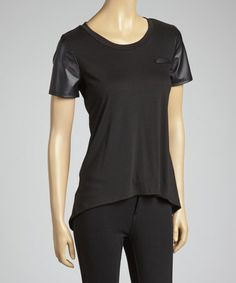Take a look at this Black Faux Leather-Trim Tee by Simply Irresistible on #zulily today!