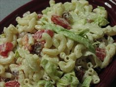 Weight Watchers BLT Pasta Salad  Changing it up a bit to lower points(really 5 by adding pasta),turkey bacon to 6 slices, fat free sour cream and fat free mayo should work out as long as cider and mustard and we love pepper, are added to flavor it up!  ....this is a fresh new healthy twist on maccaroni salad!