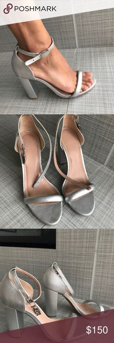 Whistles Shoes Silver chunky heels  Perfect for an outdoor event ( so your heels don't sink in the grass ;) ) - wedding, cocktail, you name it!  Shoes are Made in Spain   Condition: Very good ( wore them once for a wedding )  FYI: size a bit narrow Whistles Shoes Heels