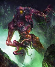 """Toxic species"" by fang xinyu on ArtStation Monster Art, Creepy Monster, Monster Concept Art, Fantasy Monster, Monster Design, Cool Monsters, Horror Monsters, Dark Creatures, Fantasy Creatures"