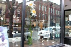 Fringe Hairdressers, Spring Window Display.   Corning's Gaffer District - Visual Design Program