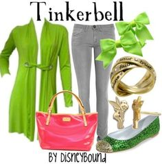 "Tinkerbell ""A pink shirt to go under the green cardigan would perfect the look!"""