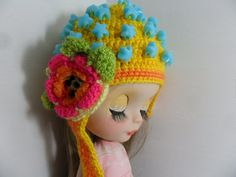 Hat Crochet with application of flower for Blythe dolls
