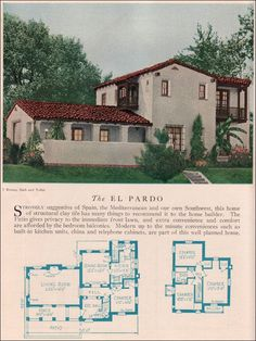 The El Pardo 1929 Home Builders Catalog  The El Pardo is a Monterey-style Spanish Revival that has some wonderful design elements like the reception hall with its curved stairway, living room with access to the covered porch and enclosed patio, and small wood balconies.  ~ Great pin! For Oahu architectural design visit http://ownerbuiltdesign.com