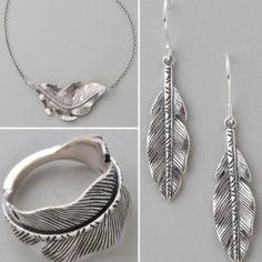 feather leaf jewelry set