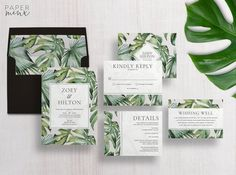 Tropical Leaf Wedding Invitations | The Zoey Suite by Paper Minx Designs | Monstera & Palm Wedding Suite
