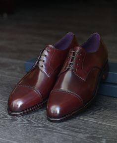 Carmina Shoemaker Quarter Brogue Derby in Burgundy Shell Cordovan