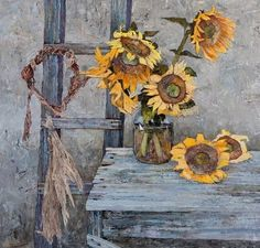 "Denis Sarazhin,  ""Sunflowers"" 90x90 cm  on ArtStack #denis-sarazhin #art"
