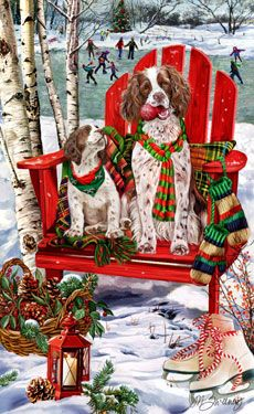 """New for 2012! English Springer Spaniel Christmas Holiday Cards are 8 1/2"""" x 5 1/2"""" and come in packages of 12 cards. One design per package. All designs include envelopes, your personal message, and choice of greeting. Select the inside greeting of your choice from the menu below.Add your custom personal message to the Comments box during checkout."""
