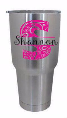 Stainless Steel Tumbler Monogram Decal, Personalized #papergoods #tag @EtsyMktgTool http://etsy.me/2agk5yW