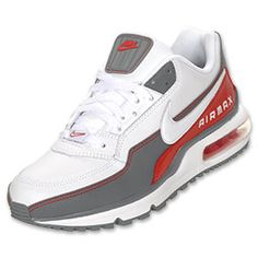 Men's Nike Air Max LTD Running Shoes | FinishLine.com | White/Cool Grey/Sport Red/White