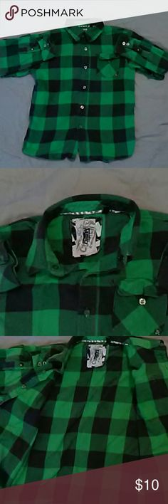 Kids green flannel (Mediem) Kids green flannel (Mediem) with black stripes. current Shirts & Tops Button Down Shirts