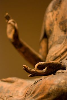 """Buddha Hands"".  12th century.  Wood with traces of lacquer and gold.  