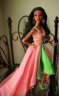 AKA  Centennial  Sorority 200. Kilmaya  is  modeling  a  gown  by  AKA  Centennial  Sorority  barbie  from  2008.  Very  rare  goddess  style  gown !!!;-D!!!