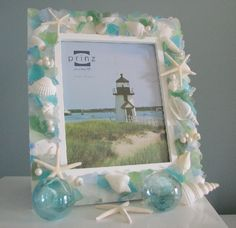 shell and sea glass picture frame.