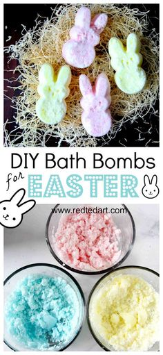 """Easter Bath Bomb Recipe - adorable Peeps Bath Bombs - a great Easter Bath Bomb Recipe to make with or for the kids. Love this as an alternative """"no Treat Easter Gift"""" for big and small. Make them as Bunny Peeps or Chick Peeps or whatever Easter shape you Wine Bottle Crafts, Mason Jar Crafts, Mason Jar Diy, Diy Home Decor Projects, Diy Projects To Try, Bath Bomb Ingredients, Galaxy Bath Bombs, Bombe Recipe, Diy Hanging Shelves"""
