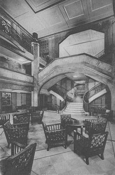 The First Class Grand Hall of the Ile de France, flagship of the Compagnie Générale Transatlantique/The French Line. 1927. Image courtesy the private collection of John Cunard-Shutter.