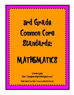 This file is a great and easy way to document 3rd grade Common Core Standards for Mathematics. $1.75