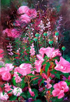 Artwork >> Libo Art Studio >> Pink azalea #artwork, #masterpiece, #nature, #flowers, #bouquet, #painting
